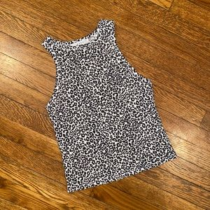 Gaze black and white animal print tank top